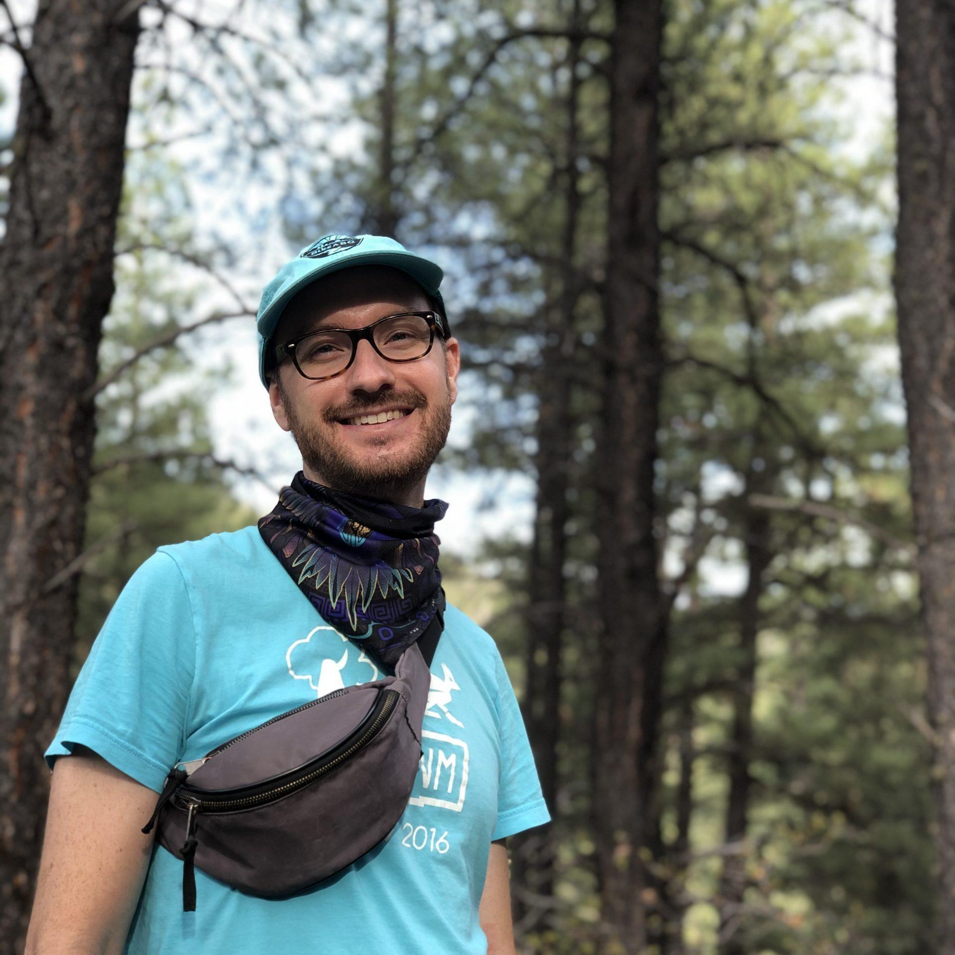dan m hiking in woods